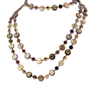 "Multi-colored Hamba Wood, Acrylic Bead & Sequin 72"" Slip-on Necklace"