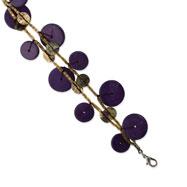 "Silver-tone Purple Hamba Wood, Acrylic Bead & Sequin 7"" Bracelet"