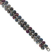 "Silver-tone Blue/Purple Hamba Wood & Sequin Aluminum 7"" Bracelet"