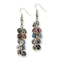 "Silver-tone Blue/Purple Hamba Wood & Sequin Aluminum 2.75"" Earrings"