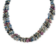 "Silver-tone Blue/Purple Hamba Wood & Sequin Aluminum 18"" Necklace"