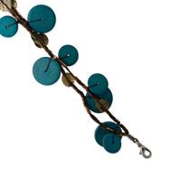 "Silver-tone Turquoise Hamba Wood & Sequin 7.25"" Bracelet"