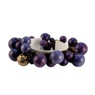 Gold-tone Purple Hamba Wood, Acrylic Bead & Sequin Stretch Bracelet
