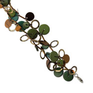 "Silver-tone Green Hamba Wood, Bead & Sequined 7.5"" Bracelet"