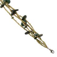 "Silver-tone Green Hamba Wood/Brown Bead 5 Strand 7"" Bracelet"