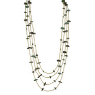 "Silver-tone Green Hamba Wood & Brown Bead Layered 32"" Necklace"