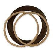 "3-piece Hamba Wood/Twill Wrapped 6.75"" Slip-on Bracelet"
