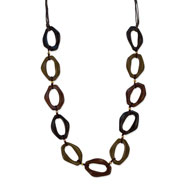 """Silver-tone Hamba Wood on Brown Cord 30"""" Necklace"""