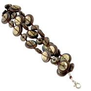 "Silver-tone Brown Hamba Wood & Sequin Corded 7"" Bracelet"