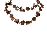 "Silver-tone Brown Hamba Wood, Coconut & Yarn 40"" Slip-on Necklace"