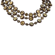 "Silver-tone Brown Hamba Wood & Sequin 18"" Necklace"