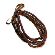 Multicolor Coconut & Hamba Wood Multiple Strand Stretch Bracelet