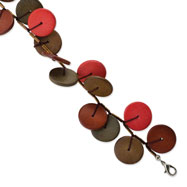 "Silver-tone Brown and Red Hamba Wood & Bead 7"" Bracelet"