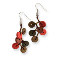 "Silver-tone Brown & Red Hamba Wood & Bead Dangle 2.25"" Earrings"