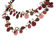 "Multicolored Hamba Wood & Sequin 48"" Slip-on Necklace"
