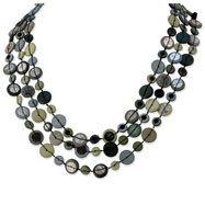 "Silver-tone Multi-colored Hamba Wood & Sequin 25"" With Extended Necklace"