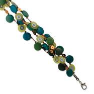"Silver-tone Multicolor Hamba Wood & Bead 7.5"" Bracelet"