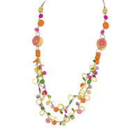 "Silver-tone Multicolor Coco, Hamba Wood & Sequin 30"" Slip-on Necklace"