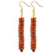 "Gold-tone Orange Coconut Bead 2.75"" Dangle Earrings"