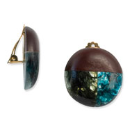 "Tapak Wood & Green/Blue Broken Capiz 1.25"" Round Clip-on Earrings"