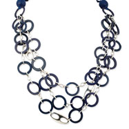 Silver-tone Blue Natural Wood And Coconut Self-tie Necklace