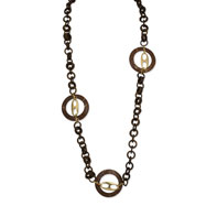 "Gold-tone Coconut & Natural Wood 38"" Slip-on Necklace"
