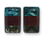 "Tapak Wood & Green/Blue Broken Capiz 1.5"" Rectangular Clip-on Earrings"
