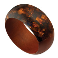 Red Natural Wood & Broken Capiz Round Bangle
