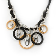 "Silver-tone Black & Carmel Faux Suede 22"" Necklace"