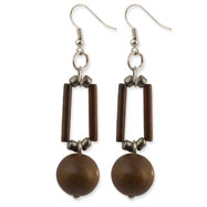 "Silver-tone Brown Bamboo Tube & Natural Wood Dangle 2.5"" Earrings"