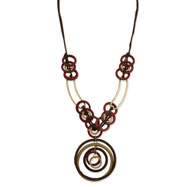 "Gold-tone & Red Natural Wood Faux Suede Drop 30"" Necklace"