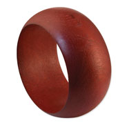 Red Natural Wood 38 x 10 x 65 mm Round Bangle