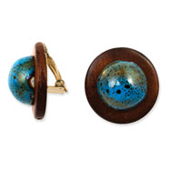 "Gold-tone Enameled Natural Wood 1.25"" Clip-on Earrings"