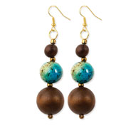 "Gold-tone & Natural Wood 3"" Enameled Dangle Earrings"