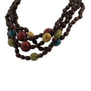 Gold-tone & Multi-Colored Natural Wood Layered Necklace