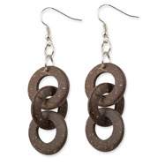 "Silver-tone Coconut 2.5"" Dangle Earrings"