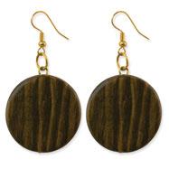 "Gold-tone & Green Natural Wood 2"" Dangle Earrings"