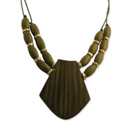 "Gold-tone & Green Natural Wood 19"" Drop Necklace"