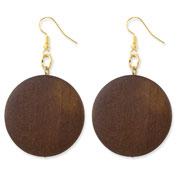 "Gold-tone & Natural Wood 2.25"" Flat Dangle Earrings"