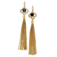 Gold-plated Sterling Silver CZ Dangle Chain Post Earrings