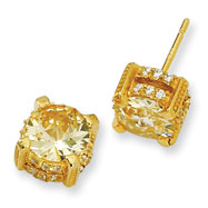 Gold-plated Sterling Silver 8mm Canary Cubic Zirconia Stud Earrings