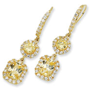 Gold-plated Sterling Silver Canary/White Cubic Zirconia French Wire Earrings