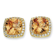 Gold-plated Sterling Silver Rose-cut Champ Cubic Zirconia Square Post Earrings