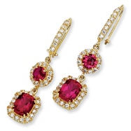 Gold-plated Sterling Silver Synthetic Ruby & Cubic Zirconia French Wire Earrings