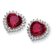 Sterling Silver Heart 100-facet Synthetic Ruby/Cubic Zirconia Post Earrings