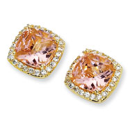 Gold-plated Sterling Silver Rose-cut Pink Cubic Zirconia Square Post Earrings