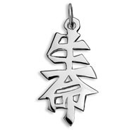 "Sterling Silver ""Life"" Kanji Chinese Symbol Charm"