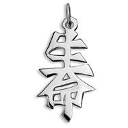 "Sterling Silver ""Life"" Kanji Chinese Symbol Charm"