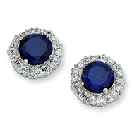 Sterling Silver Synthetic Sapphire & Cubic Zirconia Post Earrings