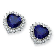 Sterling Silver Heart Synthetic Sapphire/Cubic Zirconia Post Earrings